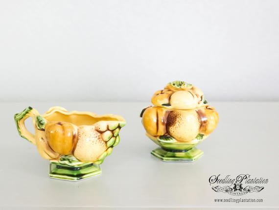 Rare Vintage Majolica Sugar and Creamer Made in Japan-Majolica Lemons