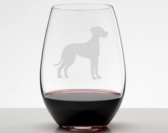 Great Dane, Great Dane Gift, Etched Stemless Wineglass