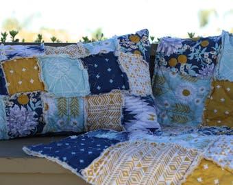 Queen Quilt - King Quilt - Rag Quilt - Navy and Gold Quilt - Navy Quilt - Aztec Quilt - Quilt for Bed - Handmade Bedding - Bedroom Decor