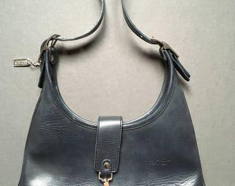 Vintage COACH Genuine Leather Black Shoulder Bag 7456, Made in USA