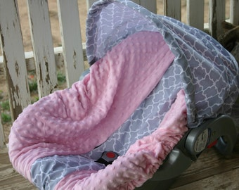 gray and white quatrefoil with baby pink  minky infant car seat cover and hood cover