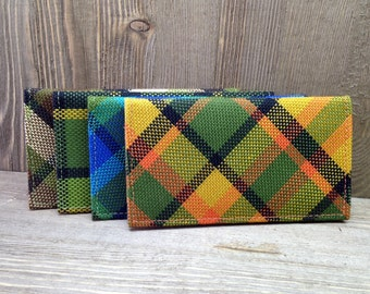VW Camper/Bus Westy Checkbook Cover, Plaid, Green, Yellow, Brown, Red, Blue