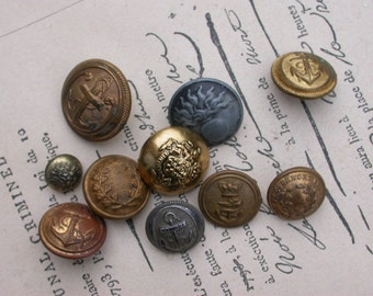 Lot 10pcs large French vintage  gold metal button military button navy anchor  lion coat of arms buttons corwn royal star heart Paris France