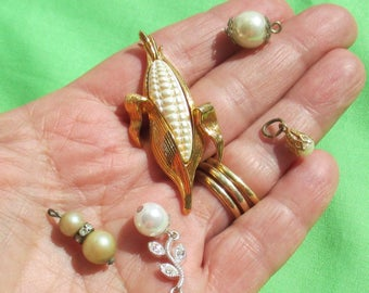 Lot Of Vintage Faux Pearl Dangles Pendants White Corn Component TLC