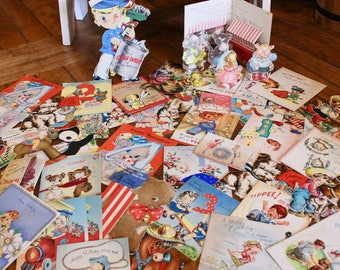 Vintage Assortment of 47 Children's Birthday Cards/Used 1940's Child's Illustrations