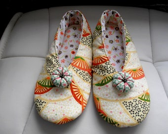"""SHOES woman T35 - 36 Japanese fabric """"fans"""" orange/Green"""