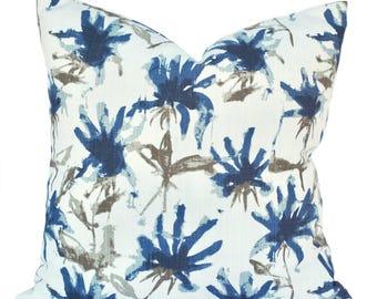 One blue pillow cover, Dark Blue Pillow, decorative throw pillow, accent pillow, Floral  pillow, pillow case
