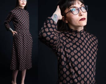 Vintage 60's Nelly Don Polka Dot Pencil Dress / Size Small