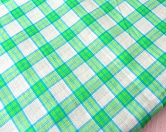 Shot cotton gingham woven fabric, green check cotton fabric, handwoven indian cotton fabric half yard