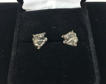 Vintage 1970s KOALA BEAR & BABY  sterling post Earrings