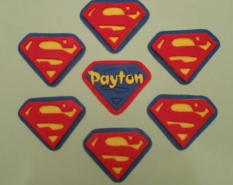 Edible superman cupcake toppers
