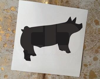 Show Pig Vinyl Sticker - Option 1