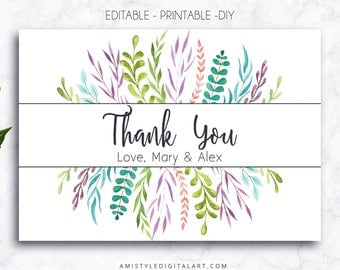 Thank You Card, Leaves, Editable PDF, Thank You Card, Printable Cards, Wedding Thank You, Greeting Cards,Thank You Notes,Printable Thank You
