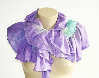 Gypsy Purple Light Teal Scarf Boho Hippie Accessories Gathered Scarf Vegan