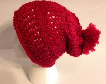 red slouchy beaine with puff-puff hat-womens hat-gifts for her-winter wear-winter accessories-winter hat-winter beanie-red hat-slouchy hat