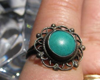 Vintage JL Signed Green Turquoise and Sterling Silver Ring, Size 4.75, Pinky Ring