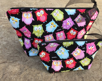 Owl Makeup Bag Set, Cosmetic Bag Set Owl Lover Gift, Large Make Up Bags, Choice of Fabric & Size, Makeup Bag Small Gift Set for Girls