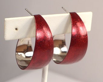 Red Sparkle Hoop Earrings, Vintage Silver post Hoops, Upcycled Retro Hoop Earrings, Red Hoop Earrings, Red Glitter Sparkle Post Hoops (E873)
