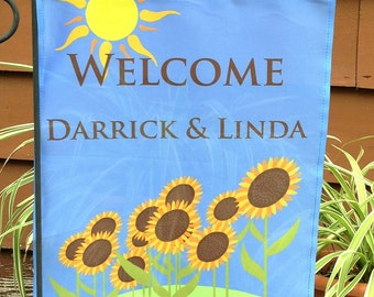 Personalized Sunflower Flag, Garden or House Flag, Sunflower Flag