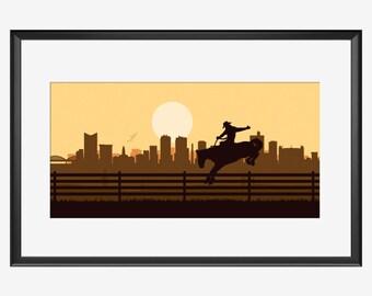Fort Worth Skyline, Fort Worth print, Fort Worth Texas, Cowboy print, Cowboy art, Cowboy poster, Rodeo art, Rodeo print, Rodeo poster, gift