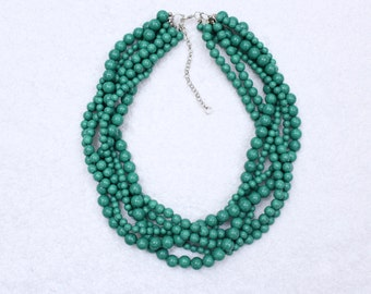 Green Turquoise Necklace Braided Necklace Multi Strand Beaded Necklace Stone Statement Necklace
