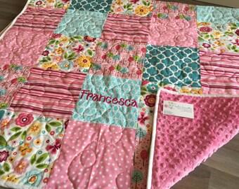 Summer Breeze Quilt and pillow set with flowers, birds and butterflies