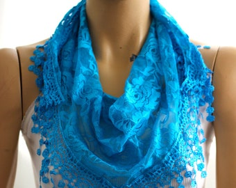 turquoise blue lace scarf  Summer lace scarf  Lace scarf Woman scarf scarves  floral scarf turquoise scarves floral scarf blue lace scarves