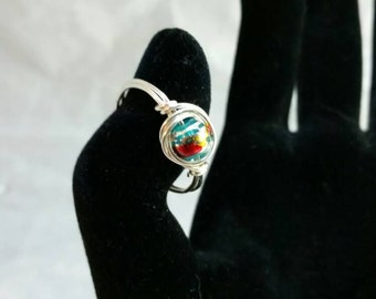 Handmade wire wrapped multicolored bead