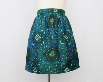 60s Teal Green Floral Print Skirt - Vintage 1960s A-line Printed Skirt
