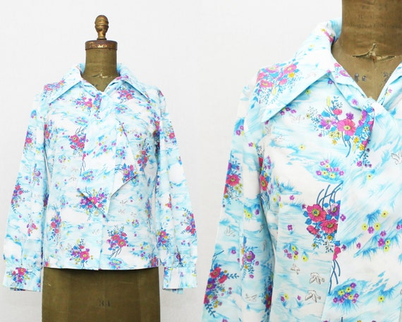 70s Novelty Print Secretary Blouse - Size Medium - Vintage 1970s Floral and Bird Print Button Down Kitty Bow Blouse by Style Rite