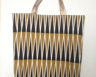 Tote Bag, Shopping Bag, Cotton Bag with White Lining, Black and Yellow Bag, Handles Gold, Handles in faux leather