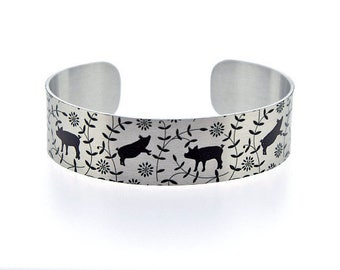 Cuff bracelet, pig metal bangle in brushed silver aluminium with pigs. Recycled jewellery. Farm animals and Pig gifts. Secret message. B497