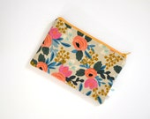 Rosa Floral Pouch, Canvas Zipper Bag, Small Zippered Pouch, Floral Cosmetic Bag, Rifle Paper Co, Gift for Best Friend, Small Clutch Purse