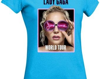 New Womens Lady Gaga Joanne 2017 World Tour DTG Direct to Garment Ringspun Cotton Fashion Tee Crewneck - Free Shippping