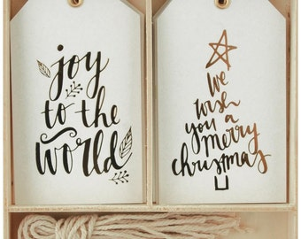 Set of 12 - Christmas Metallic Gift Tags - Joy to the World, We Wish you a Merry Christmas - Gift Tags Die Cut &Twines DIY Gift Tags