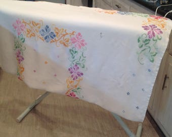 Vintage tablecloth, cross stich on linen