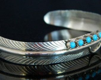 Native American Navajo Turquoise Sterling Silver Feather Cuff Bracelet Signed Vivian Jones