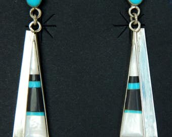 Native American Navajo Turquoise Jet Mother of Pearl Sterling Silver Handmade Earrings Hallmarked