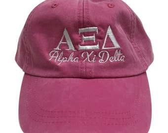 Alpha Xi Delta Script Design Hot Pink Hat with White Thread Hat
