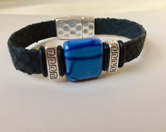 Blue Python Flat Leather Bracelet Real Snakeskin Magnetic Clasp Antique Silver Color Sliders UNISEX Jewelry Accessories For Him Her Unique