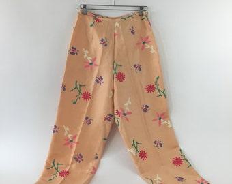 Vintage Coral Floral Print Pants