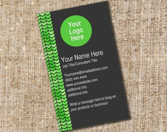 Black and Green Business Card Design with Tribal Print Detail - It Works for Any Business and can be Personalized!