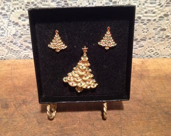Christmas Tree Brooch and matching Earring Set