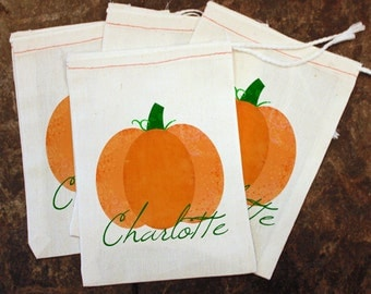 Thanksgiving Place Cards - Fall School Party Gift Bags / Pumpkin Bags / Kids Party Favor / Thanksgiving Name Cards / Pumpkin Goodie Treat