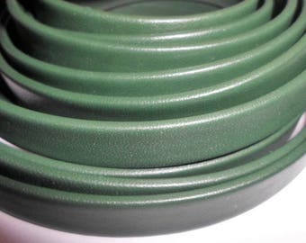 Pre Cuts, No Joins, Mexican Bottle Green 10mm Flat Leather Cord,