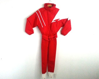 Vintage 90s Ski Suit Color Block Red White Serac Women's Size 8