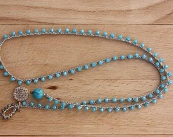 Turkish Coin Crochet Bracelet&Necklace, Blue Multi Wrap Beaded Jewelry