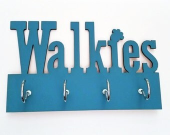 Painted Walkies Sign Key Holder Laser Cut Wood Any Colour