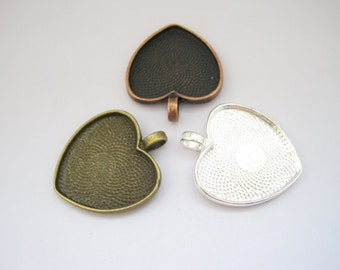 10PCS 25x25mm Antique Bronze / Antique Copper/ Silver Heart Bezel Cup Cabochon Mountings H23925
