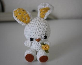 Small White Amigurumi Rabbit with Yellow Ears
